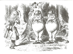 ALICIA A TRAVÉS DEL ESPEJO, de LEWIS CARROL (1871) ILUSTRACIONES DE JOHN TENNIEL CAPÍTULO IV: TWEEDLEDUM y TWEEDLEDEE TWEEDLEDUM y TWEEDLEDEE, por JOHN TENNIEL